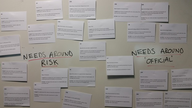 user stories collected about risk management and OFFICIAL